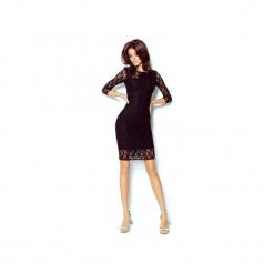 SUKIENKA KARLA. Czarne sukienki dzianinowe marki ivon, na co dzień, biznesowe, z klasycznym kołnierzykiem, trapezowe. Za 219,00 zł.