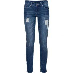 """Dżinsy Skinny z zamkami bonprix niebieski """"stone"""". Niebieskie jeansy damskie marki bonprix, z jeansu. Za 129,99 zł."""