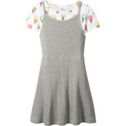 Sukienki dziewczęce: T-shirt + sukienka (2 części) bonprix biało – jasnoszary melanż