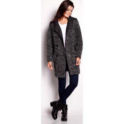 Płaszcze damskie: Czarny Płaszcz Dwurzędowy z Kołnierzem