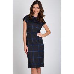 Sukienki: Szara sukienka w niebieską kratę QUIOSQUE