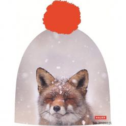 Czapka Magic Fun FOX. Szare czapki zimowe damskie Pakamera, z nadrukiem, z dzianiny. Za 79,00 zł.