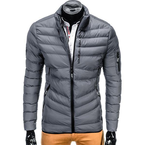 Poważnie Kurtka męska zimowa pikowana C314 - szara - Szare kurtki męskie FN85