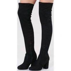 Czarne Kozaki Autumn Time. Czarne buty zimowe damskie marki other, z materiału, na wysokim obcasie, na obcasie. Za 159,99 zł.