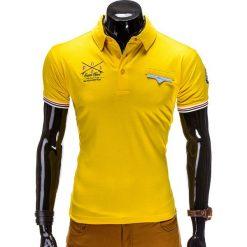 KOSZULKA MĘSKA POLO Z NADRUKIEM S510 - ŻÓŁTA. Żółte koszulki polo Ombre Clothing, m, z aplikacjami, z bawełny. Za 19,99 zł.