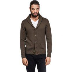 Swetry rozpinane męskie: Kardigan w kolorze oliwkowym