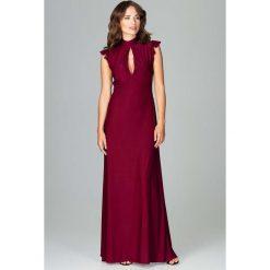 Bordowa Subtelna Długa Sukienka z Falbankami. Czerwone długie sukienki Molly.pl, na imprezę, l, w paski, z dekoltem na plecach, z długim rękawem, wyszczuplające. Za 159,90 zł.