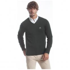 Polo Club C.H..A Sweter Męski M Ciemnozielony. Czarne swetry klasyczne męskie marki Polo Club C.H..A, m, dekolt w kształcie v. W wyprzedaży za 259,00 zł.
