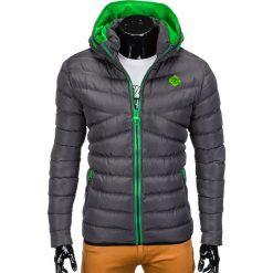 KURTKA MĘSKA ZIMOWA PIKOWANA C363 - GRAFITOWA. Szare kurtki męskie pikowane Ombre Clothing, na zimę, m, z poliesteru. Za 149,00 zł.