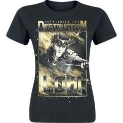 Thor Loki - Permisson For Destruction Koszulka damska czarny. Czarne bluzki z odkrytymi ramionami marki Thor, s, z nadrukiem, z okrągłym kołnierzem, z krótkim rękawem. Za 74,90 zł.