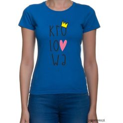Koszulka damska. królowa. Niebieskie bluzki asymetryczne Pakamera, z nadrukiem. Za 79,00 zł.
