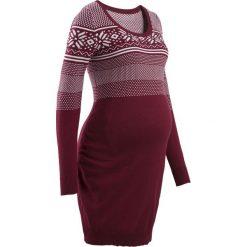 Sukienka dzianinowa z norweskim wzorem bonprix bordowo-biel wełny wzorzysty. Czerwone sukienki ciążowe bonprix, w prążki, z dzianiny. Za 109,99 zł.