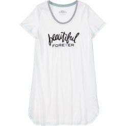 Koszula nocna bonprix biel wełny z nadrukiem. Białe koszule nocne i halki marki bonprix, z nadrukiem, z wełny. Za 24,99 zł.