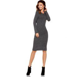 Kobieca ołówkowa sweterkowa sukienka grafit. Brązowe długie sukienki Lemoniade, na jesień, ze splotem, klasyczne, z klasycznym kołnierzykiem, z długim rękawem, ołówkowe. Za 149,90 zł.