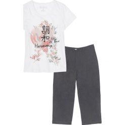 Piżamy damskie: Piżama ze spodniami 3/4 bonprix biel wełny – szary z nadrukiem