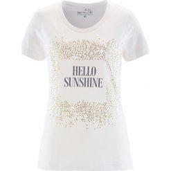 T-shirt bonprix biel wełny z nadrukiem. Białe t-shirty damskie bonprix, z nadrukiem, z wełny. Za 21,99 zł.