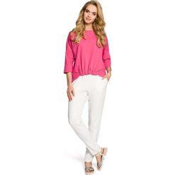 Bluzy damskie: Fuksja Bluza Nietoperzowa z Gumką na Dole
