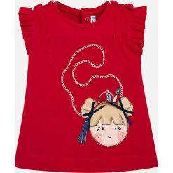 Mayoral - Top dziecięcy 68-98 cm. Czerwone topy damskie Mayoral, z aplikacjami, z bawełny, z okrągłym kołnierzem, z krótkim rękawem. Za 64,90 zł.