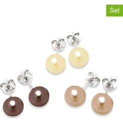 Kolczyki damskie: Kolczyki-wkrętki z perłami (3 pary)