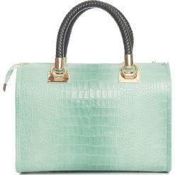 Torebki klasyczne damskie: Skórzana torebka w kolorze miętowym – 44 x 38 x 16 cm