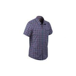 Koszula TRAVEL 50 męska. Niebieskie koszule męskie na spinki QUECHUA, l, z krótkim rękawem. W wyprzedaży za 29,99 zł.