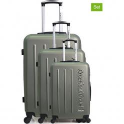 """Walizki (3 szt.) """"Bronx"""" w kolorze khaki. Brązowe walizki American Travel, z materiału. W wyprzedaży za 434,95 zł."""