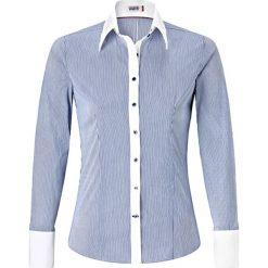 Bluzka w kolorze błękitno-białym. Białe topy sportowe damskie Vincenzo Boretti, z bawełny, z klasycznym kołnierzykiem, z długim rękawem. W wyprzedaży za 295,95 zł.