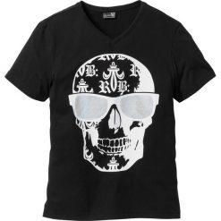 T-shirt Slim Fit bonprix czarny. Czarne t-shirty męskie z nadrukiem bonprix, m. Za 37,99 zł.