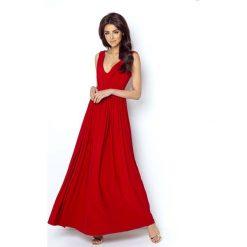 Czerwona Elegancka Maxi Sukienka z Dekoltem V z Przodu i na Plecach. Niebieskie długie sukienki marki bonprix, z nadrukiem, na ramiączkach. Za 239,90 zł.