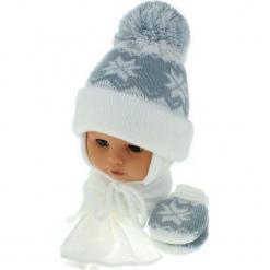 Czapka niemowlęca z szalikiem i rękawiczkami CZ+S+R 014A. Szare czapeczki niemowlęce Proman. Za 46,14 zł.