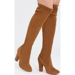 Camelowe Kozaki Russian Roulette. Szare buty zimowe damskie marki Born2be, na wysokim obcasie, na słupku. Za 144,99 zł.