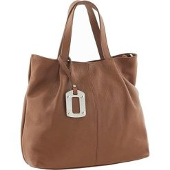 Torebki klasyczne damskie: Skórzana torebka w kolorze jasnobrązowym – 33 x 27 x 13 cm