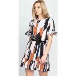 Sukienki: Pomarańczowo-Niebieska Sukienka Colors It s On