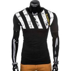 T-shirty męskie: T-SHIRT MĘSKI Z NADRUKIEM S959 - CZARNY
