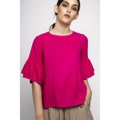 Bluzki asymetryczne: Bluzka gładka z okrągłym dekoltem, krótki rękaw