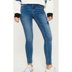 Jeansy skinny mid waist - Granatowy. Niebieskie jeansy damskie skinny Sinsay. Za 89,99 zł.