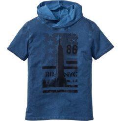 """T-shirt z szalowym kołnierzem Slim Fit bonprix niebieski """"used"""". Czarne t-shirty męskie z nadrukiem marki bonprix. Za 34,99 zł."""