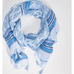 Szaliki damskie: Wzorzysty szal z frędzlami – Niebieski