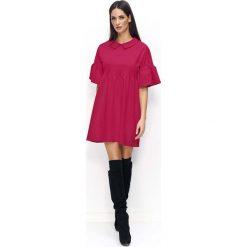 Fuksja Sukienka Trapezowa z Falbankami na Rękawach. Czerwone sukienki dresowe Molly.pl, na co dzień, m, w jednolite wzory, z falbankami, z krótkim rękawem, mini, trapezowe. Za 119,90 zł.
