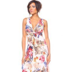 """Sukienki hiszpanki: Sukienka """"Imp"""" w kolorze beżowym ze wzorem"""
