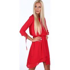 Sukienki: Sukienka z wiązaniem w talii czerwona 4091