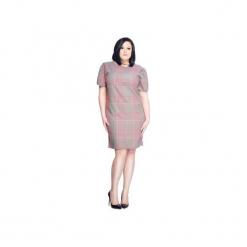 Luźna sukienka w kratkę SL2168 SIZE PLUS. Szare sukienki mini Soleil, s, w kratkę, z krótkim rękawem. Za 129,00 zł.