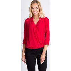 Bluzki damskie: Kopertowa malinowa bluzka QUIOSQUE