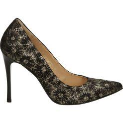 Czółenka - 2340 NERO-ORO. Brązowe buty ślubne damskie Venezia, z nubiku. Za 179,00 zł.