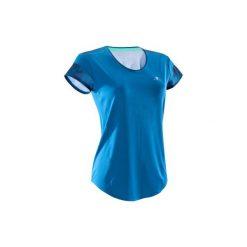 Koszulka fitness kardio krótki rękaw 500 damska. Niebieskie bluzki sportowe damskie DOMYOS, z klasycznym kołnierzykiem. Za 29,99 zł.