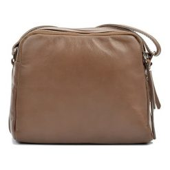 Torebki klasyczne damskie: Skórzana torebka w kolorze ciemnobeżowym – (S)20 x (W)22 x (G)9 cm
