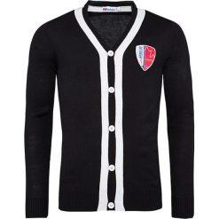"""Swetry rozpinane męskie: Kardigan """"Faro"""" w kolorze czarnym"""