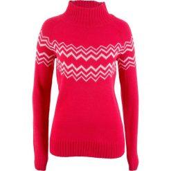 Sweter bonprix czerwono-biel wełny. Czerwone swetry klasyczne damskie bonprix, z wełny. Za 74,99 zł.