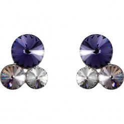 Kolczyki w kolorze srebrnym z Swarovski. Szare kolczyki damskie Biżuteria z kryształkami Swarovski, z kryształem, srebrne. W wyprzedaży za 54,95 zł.