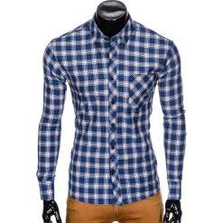 Koszule męskie na spinki: KOSZULA MĘSKA W KRATĘ Z DŁUGIM RĘKAWEM K415 – GRANATOWA/BEŻOWA